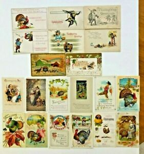 Antique-Vintage-Lot-20-Thanksgiving-Postcards-Turkey-Posted-Unposted-Divided