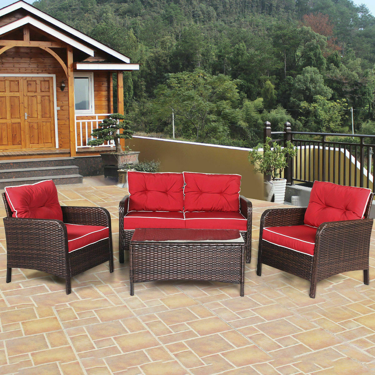Halsted wicker patio outdoor loveseat red cushions furniture weather protection for sale online ebay