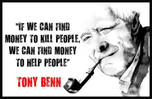Men/'s Ladies T SHIRT political icon Tony Benn labour CND anti war hero peace