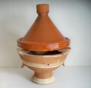 Plat a tajine tagine marocain cuisson terre cuite emaill 30cm brasero kanoun ebay - Plat a tajine en terre cuite ...