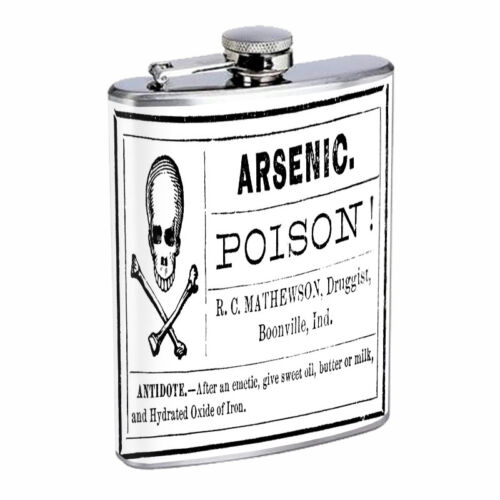 Vintage Halloween Hip Flask D22 8oz Stainless Steel Scary Old Fashioned Image