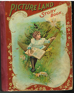 Picture-Land-Story-Book-1898-Steel-Engravings-Rare-Antique-Book