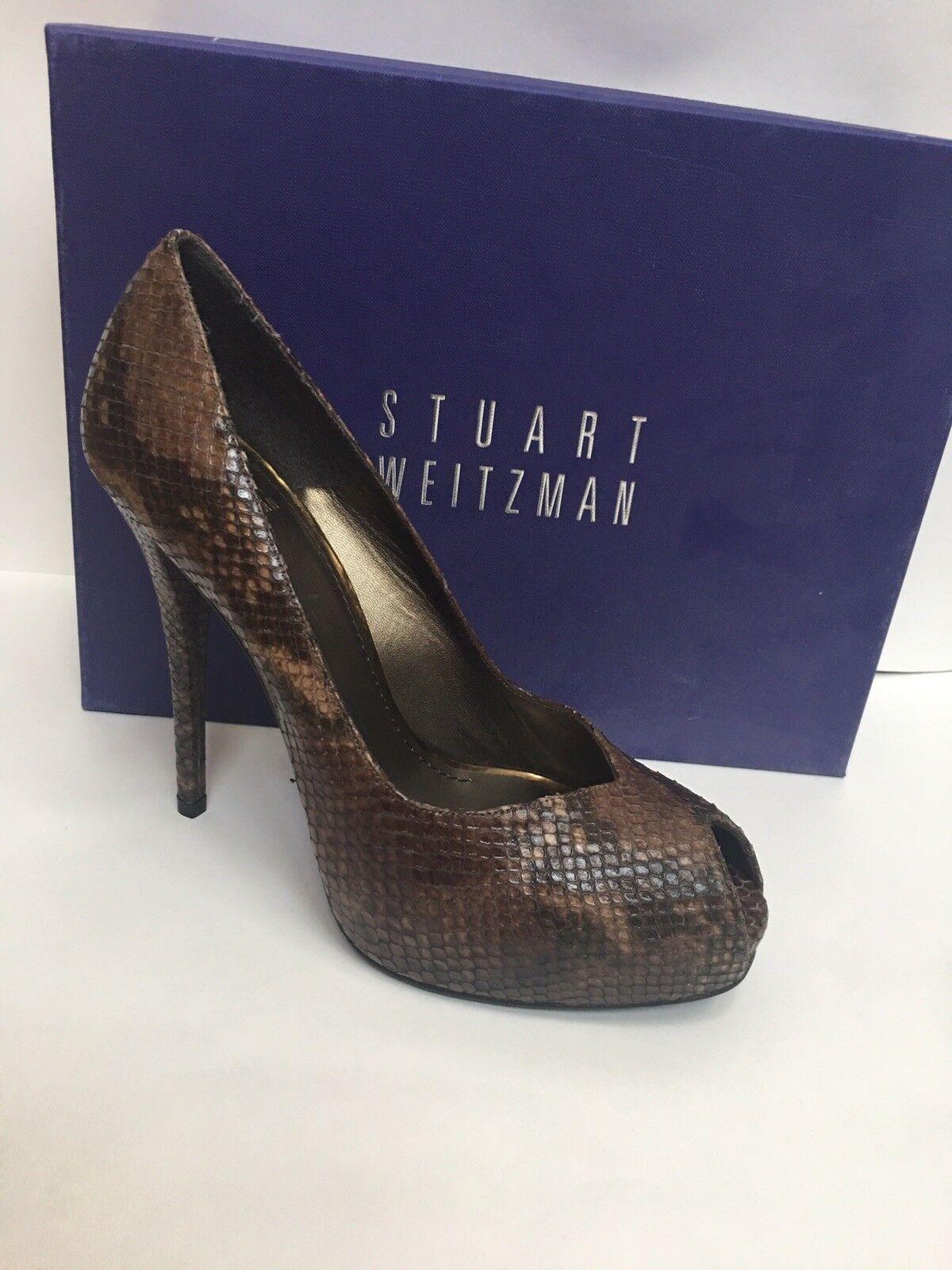 Stuart Weitzman Snakeskin peep toe hidden Platform NEW Size 9.5