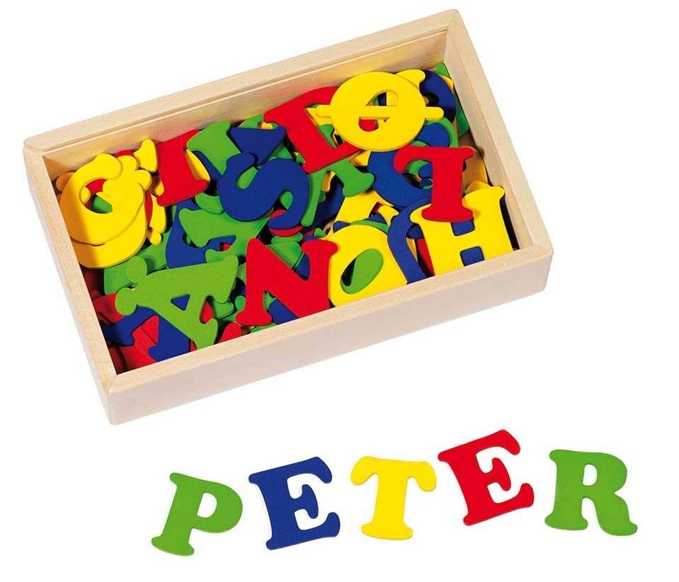 HOLZBUCHSTABEN in Holzkiste 102 Buchstaben mit Klebepunkten Tür-Name ABC Holz  | Export