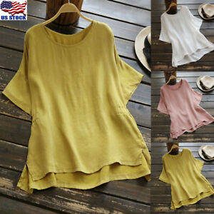 Plus-Size-Womens-Short-Sleeve-O-Neck-Blouse-Casual-Loose-Summer-Soild-Tunic-Tops