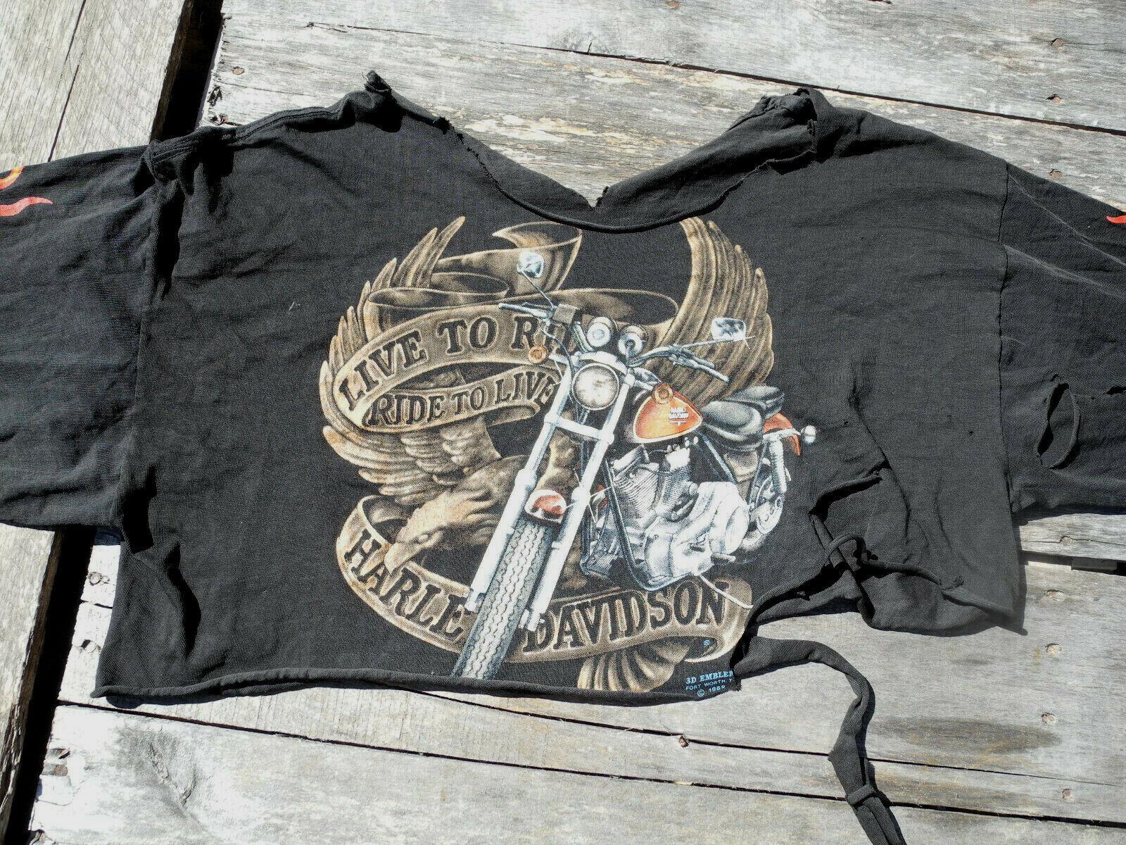Rare Vtg 80s 3D Emblem T-Shirt XL Crop-Top Live To Ride Long Sleeve