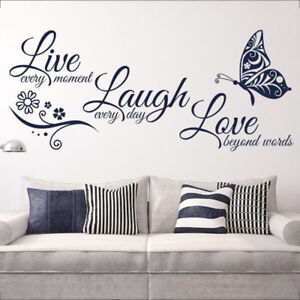 Live Laugh Love Quotes Butterfly Wall Stickers Art Room Decal Home