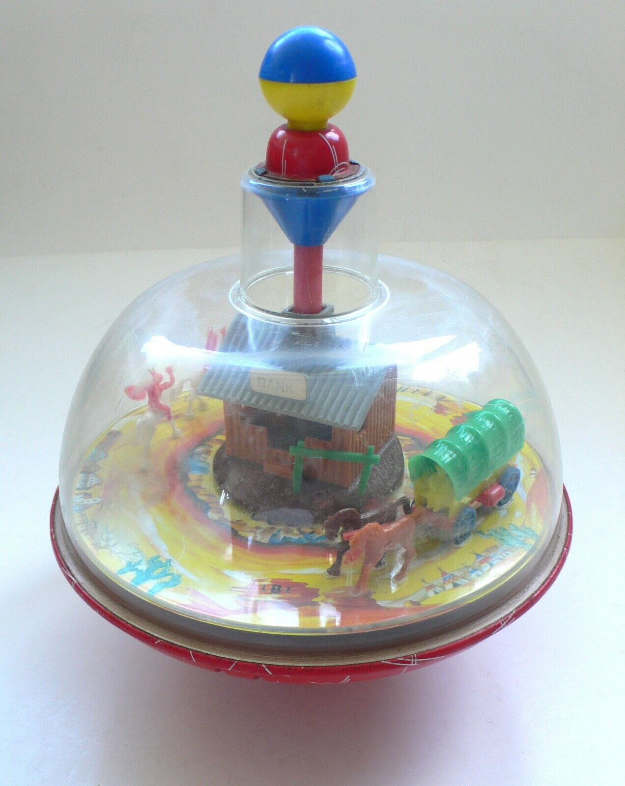 Vintage Toupie Spinning Top Tin & Plastic Plastic toy WILD WEST WESTERN 1960's Germany