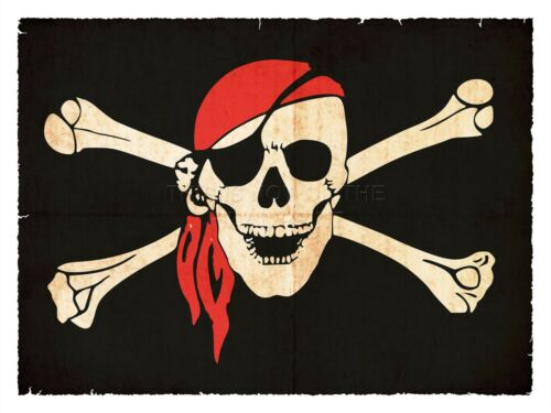 ART PRINT POSTER PAINTING JOLLY ROGER FLAG CROSSBONES SKULL PIRATE SHIP LFMP0202