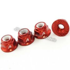 RC Car - Answer-RC 1/10 4mm Shaft 7075 Nyloc Wheel Nuts, Serrated Face 4pk - Red