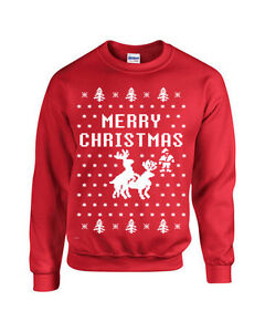 3eb4b7af70e Image is loading Merry-Christmas-Reindeer-Humping-Ugly-Sweater-Crew- Sweatshirt-