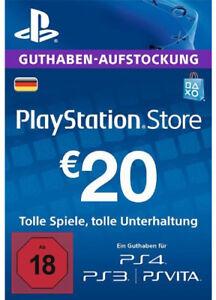 DE €20 PLAYSTATION NETWORK Prepaid Card 20 EUR PSN Karte Key PS3 PS4 PSP Code