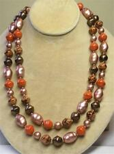 "JOAN RIVERS GOLD EP CORAL & BROWN CZECH GLASS BAROQUE BOLD BEAD 44"" NECKLACE NEW"