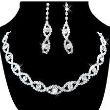 Women's Jewelry Set Bridal Wedding 8 Shape Crystal Rhinestone Necklace Earrings