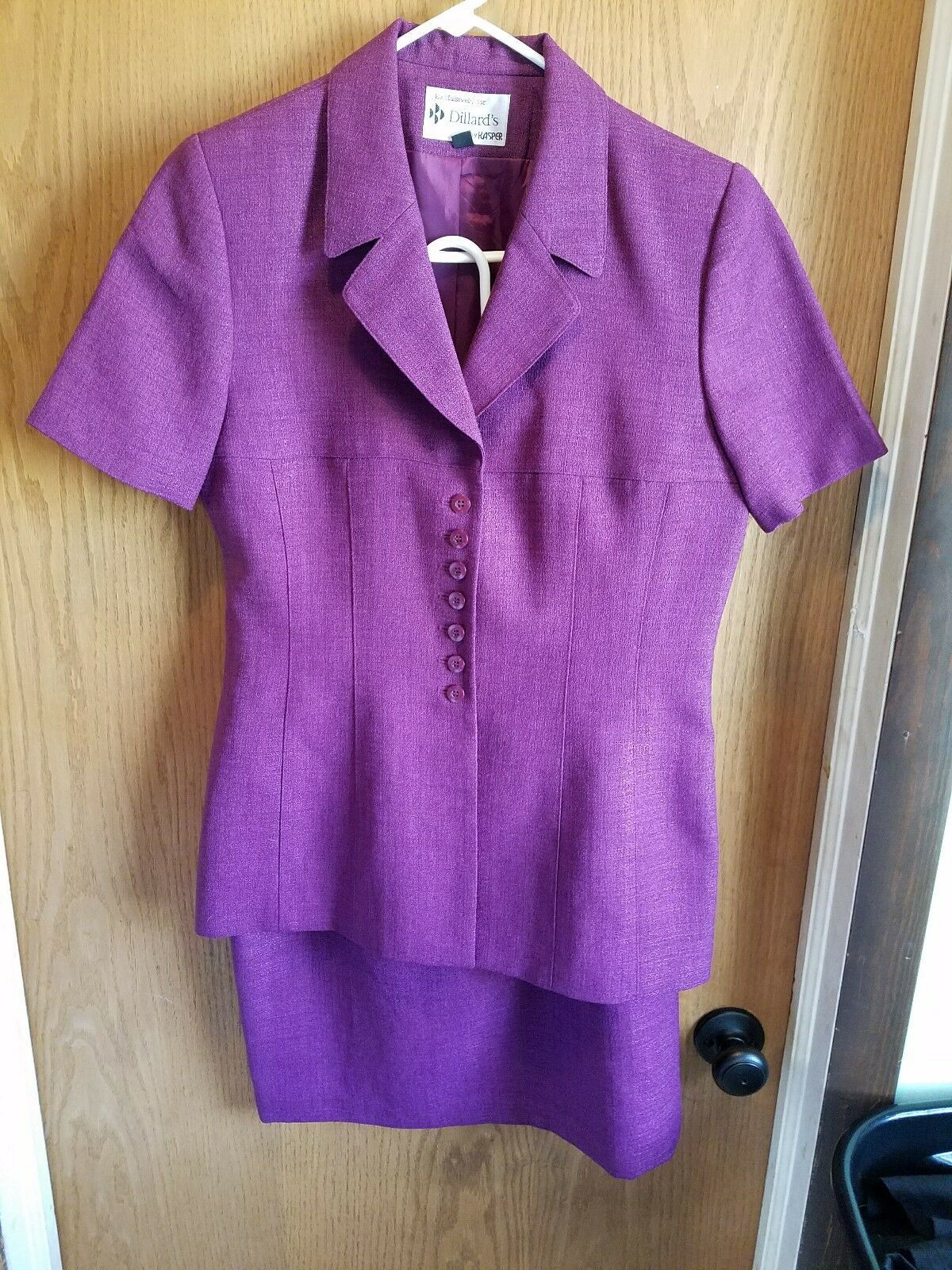 N KASPER For Dillards Purple Skirt Suit Lined Business Professional Size 6 Small