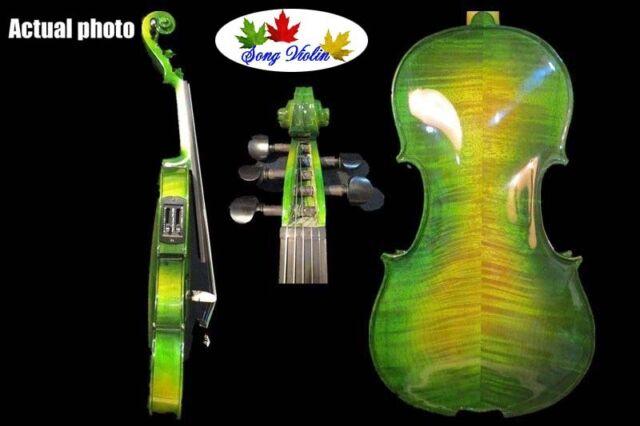 Green colors 5 strings 4/4 electric violin +Acoustic violin #8641