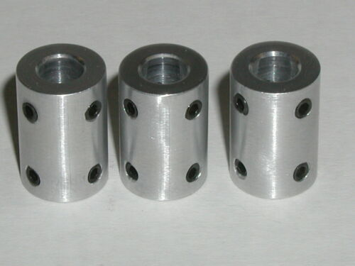 """5mm to 1//4/"""" LOT OF 3 By ESG 6061 Aluminum RIGID SHAFT COUPLERS or COUPLINGS"""