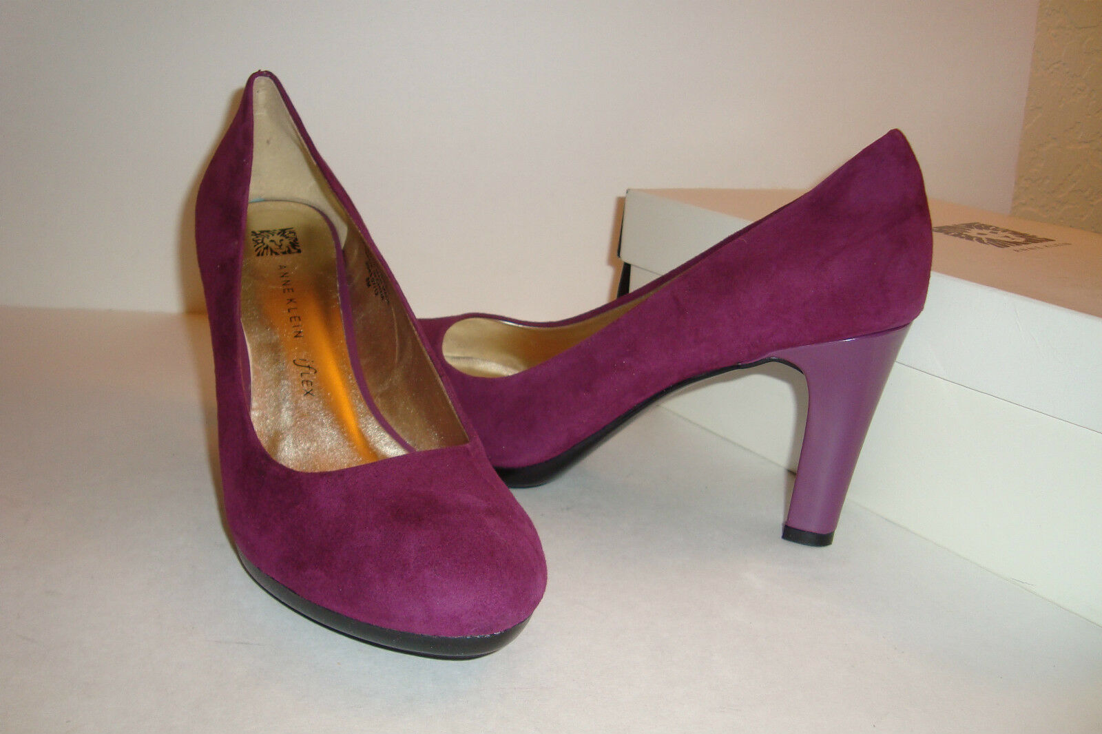Anne Klein Womens NWB Clemence DK Pink Suede Heels Shoes 8 MED NEW
