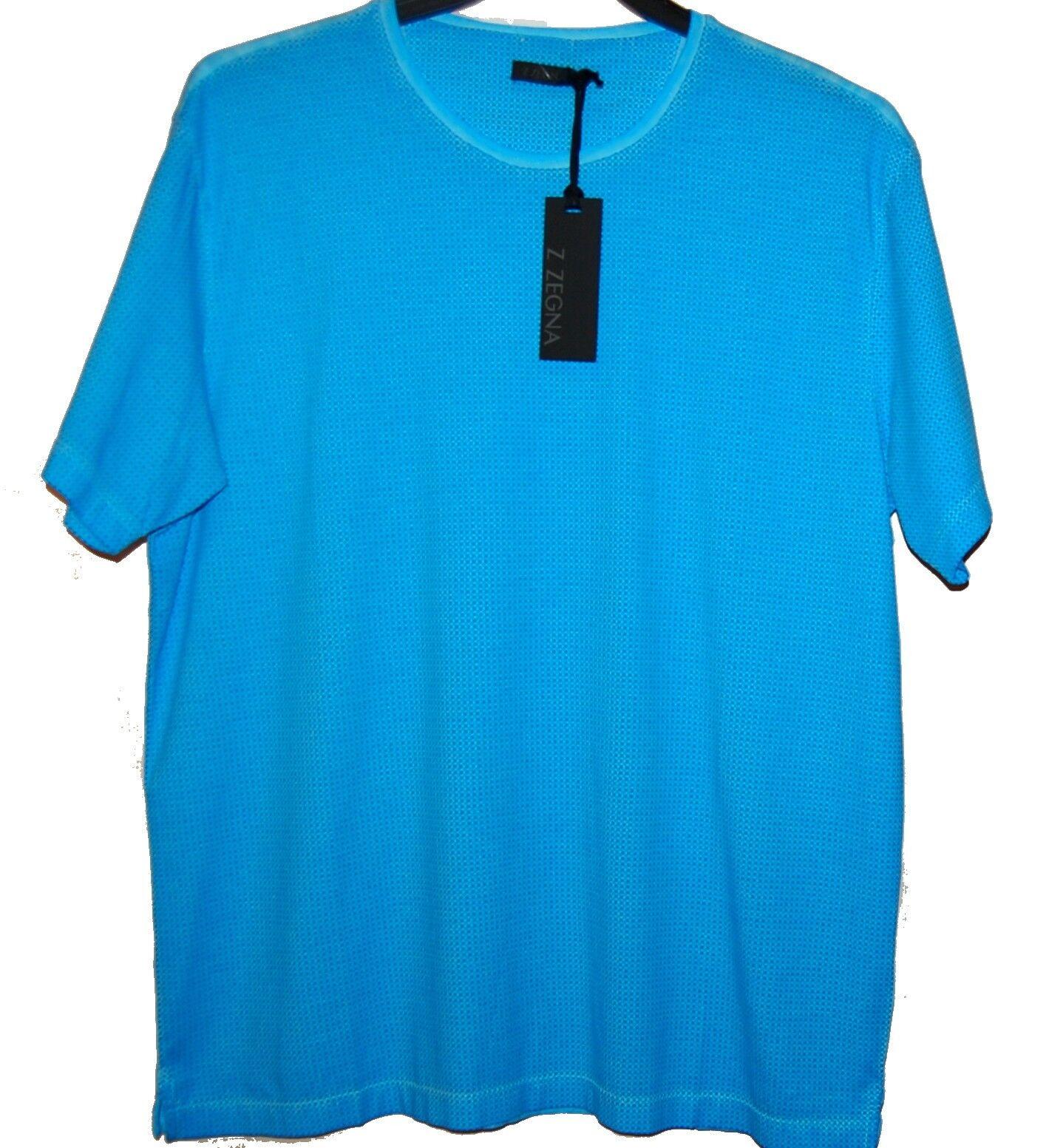 Z Zegna AUTHENTIC Men's bluee Dots Cotton T-Shirt Shirt Sz XL