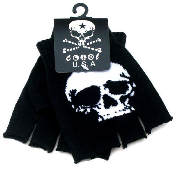 Gothic Knitted Black with White Skeleton Bones Fingerless Gloves Punk Rock Skull
