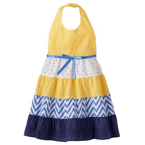 Toddler Girl 2T-4T Navy Blue White Yellow Tiered Halter Summer Dress Sundress