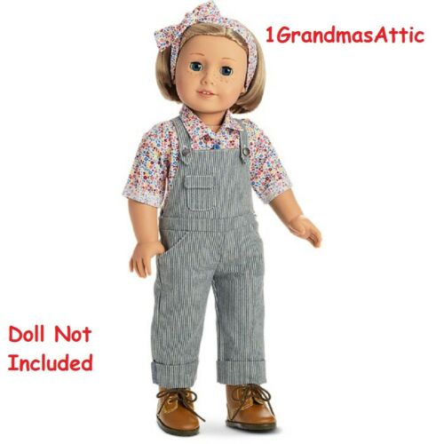 American Girl Kit/'s Gardening Outfit NIB BeForever Overalls Boots Scarf