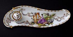Encrier-porcelaine-saxe-meissen-peint-harpe-Old-porcelain-anges-inkwell-XIX