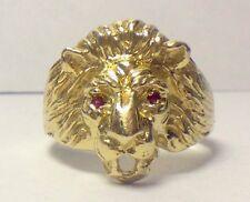 MENS VINTAGE 14K YELLOW GOLD RUBY EYE'ED LION RING NARNIA CAT ANIMAL SZ 9