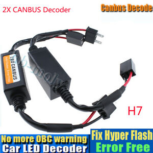 2x-H7-LED-Headlight-Canbus-Error-Free-Warning-Resistors-Decoder-Anti-Flicker-12V