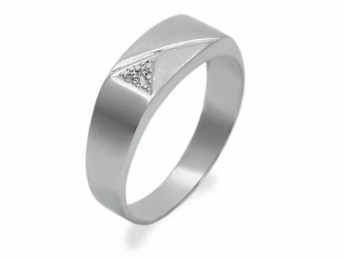 F Hinds Joyas para hombre de oro blanco 9ct Cepillos Flash De Diamante Anillo