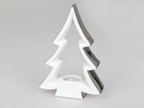 Teelichthalter Deko-Baum Keramik weiß-silber Weihnachtsdeko