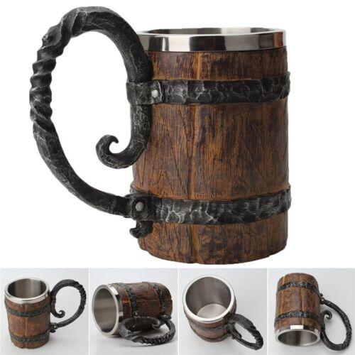Stainless Steel Viking Skull Mug Ram Horned Pit Lord Warrior Beer Stein Tankard