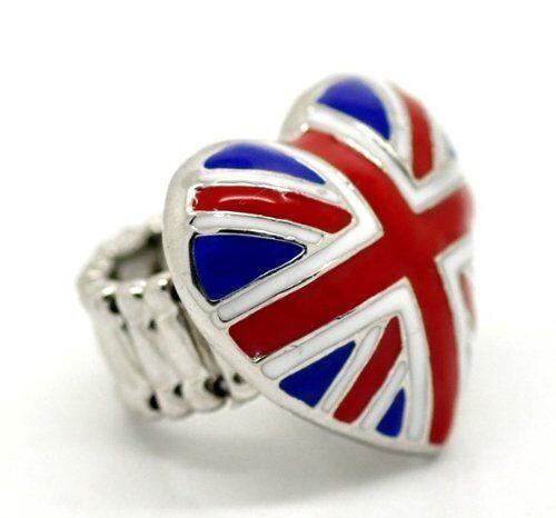 Fashion Rings Union Jack UK Drapeau Patriotique ton argent anneau Royal Cadeau De Mariage