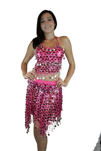 New-Gold-Tribal-Sequins-Mermaid-Scale-Belly-Dance-Costume-Hip-Scarf-Shawl-Set