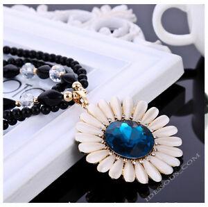 Vintage-Damen-Perlen-Zirkonia-Halskette-Blogger-Kette-Collier-Blumen-Schmuck