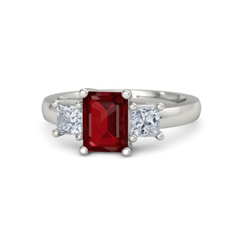 2.40 Carat Diamond 14K White gold Emerald Cut Ruby Gemstone Rings Size 4 5 6 7