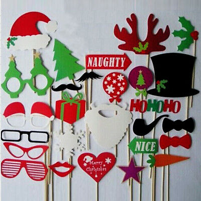 28pcs DIY Photo Booth Props Mustache Stick Wedding Birthday Christmas Party