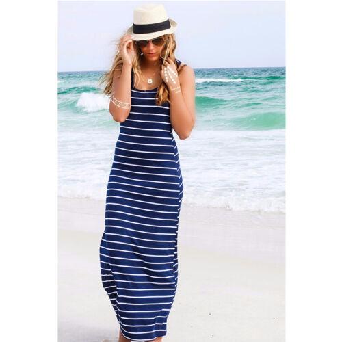 Women Striped Boho Maxi Dress Beach Summer Party Long Dress Fashion LC