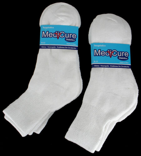 3 6 Pairs Diabetic ANKLE QUARTER CREW Health Circulatory Cotton Socks Men Women