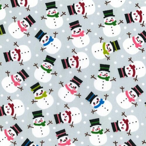 Polycotton Fabric Christmas Cute Fat Snowmen /& Snowballs Festive Xmas