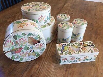 Emma Ball Giardino Birds Round Tin Caddy Torta Set Di 3 Contenitori Di Stoccaggio-mostra Il Titolo Originale