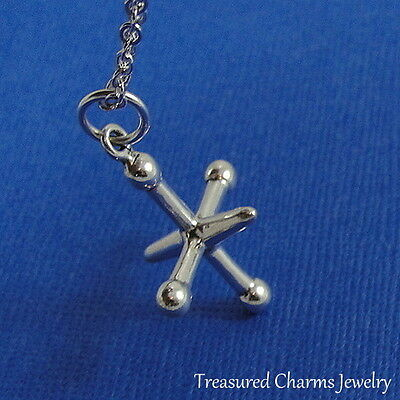 JACK Ball n Jacks 925 Sterling Silver Necklace Chain and Charm Pendant