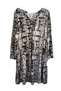 NWOT Lularoe Emily Long Sleeve Tie Dye Swing Midi Dress Black White Womens SZ L
