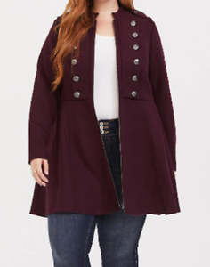 Torrid burgundy winetasting long sleeved military inspired coat size 5