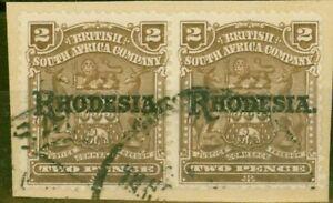 Rhodesia-1909-2d-Marron-SG102-Fin-D-039-Occasion-Paire-sur-Petit-Piece