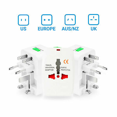 UK All-in-One Universal AC Wall Outlet Power Converter Adapter AU NZ US Euro