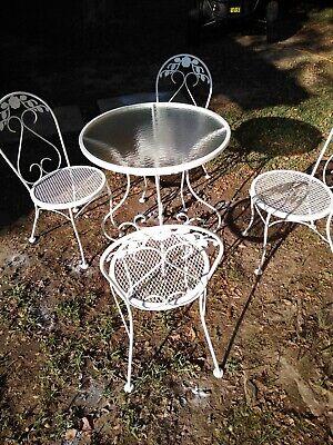 Vintage White Wrought Iron Patio Set, White Rod Iron Outdoor Furniture