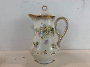 Antique Dresden German Porcelain Teapot with Floral Decorations