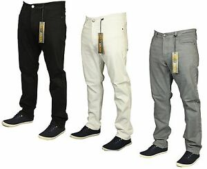 Mens-New-King-Size-Straight-Leg-Stretch-Chinos-Jeans-In-Black-Grey-White-42-60