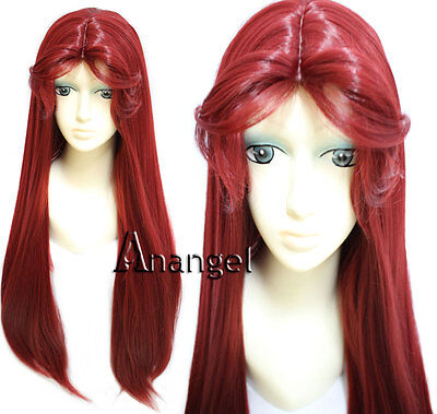 Teen Titans Starfire Wig Straight Long Wine Red Cosplay Bangs Synthetic Hair